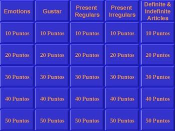 Jeopardy Review Game Avancemos 2 Preliminary Unit