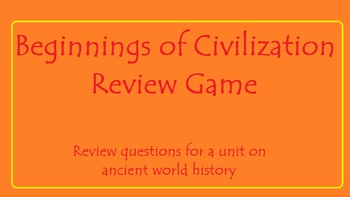Jeopardy Review Game: Beginnings of Civilization