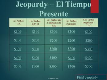Jeopardy Review Game: El Tiempo Presente (Verbos Regulares e Irregulares)