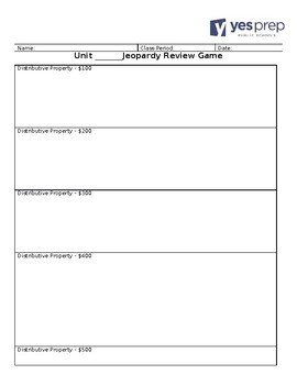 Jeopardy Review Game Handout