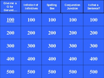 Jeopardy Review Game: Infintives/Gerunds/Spelling/Conjunctions/Etc.