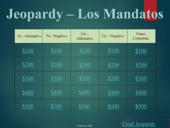 Jeopardy Review Game: Los Mandatos Formales e Informales