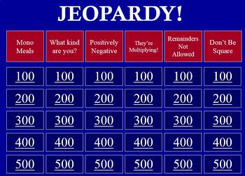 Jeopardy Review Game - Monomials & Polynomials
