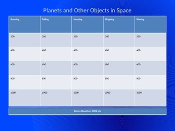 Jeopardy Review Game: Planets and other objects in space.