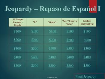Jeopardy Review Game: Repaso de Español I