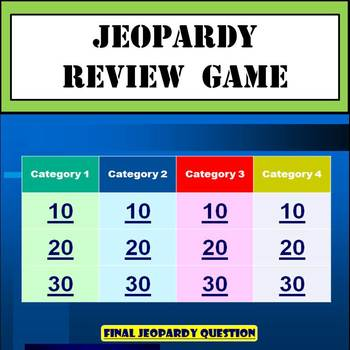 Jeopardy Review Game Template  - Great for Test Preparation