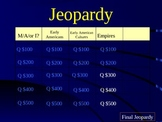 """Jeopardy Review Game for Chapter 1 of """"Building A Nation"""""""
