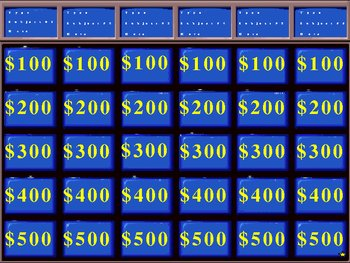 Jeopardy Review Game for the Human Body
