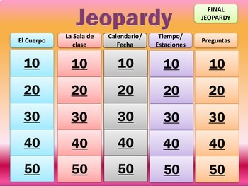 Jeopardy Review - Realidades 1, Preliminary Chapter - Basic Review.