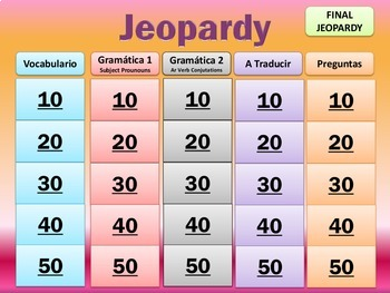 Jeopardy Review - Realidades I - Ch 2A