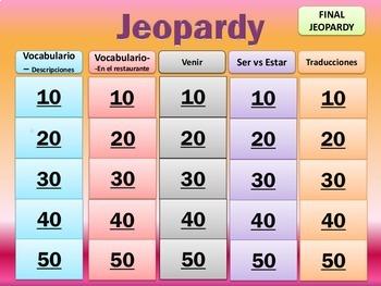 Jeopardy Review - Realidades I - Ch 5B