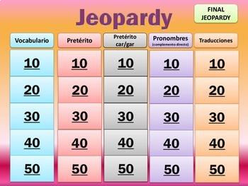 Jeopardy Review - Realidades I - Ch 7B