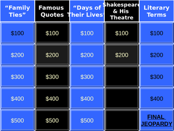 Jeopardy Review - Romeo and Juliet / Drama Unit