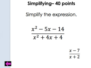Jeopardy Review:  Simplifying Rational Expressions
