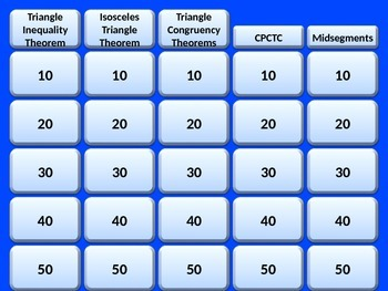 Jeopardy Review - Triangles