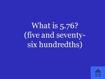 Understanding Hundredths Review: Math Jeopardy Game Show