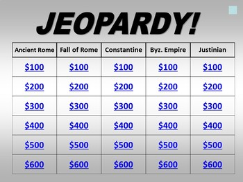 Jeopardy: Roman Civilization