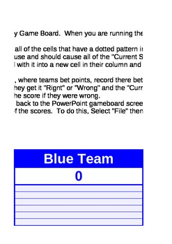 Jeopardy! Score Card