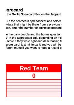 Jeopardy! Score Card