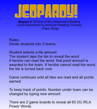 Jeopardy Sight Word Game (2G IRLA Power Words)
