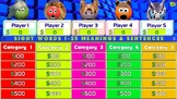Jeopardy - Sight Words 1-25 Definitions & Sentences - Game