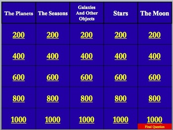 Jeopardy-Like Review Game - Space: The Study of the Universe
