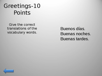 Jeopardy Spanish 1 Avancemos Chapters 1 & 2