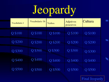 Jeopardy Spanish 1 Family/adjectives/present tense verbs F