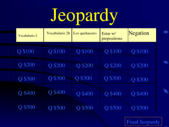 Jeopardy Spanish 1 La casa/house/chores/negative expressions Final Exam