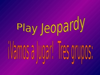 Jeopardy! Spanish:  School and clothing supplies, AR verbs