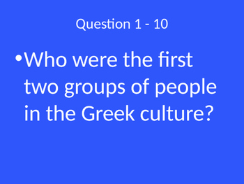 Jeopardy Style Ancient Greece Review Game