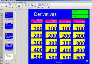 Jeopardy Style Derivatives Review Game