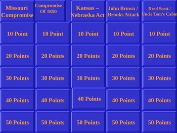 A Jeopardy Power Point Game for Slave History