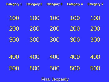 Jeopardy Style Powerpoint Quiz Show