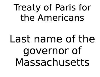 Jeopardy Style Review Game Articles of Confederation Treaty of Paris