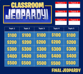 Jeopardy Template (2 rounds). Keep score-up to 4 teams