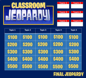 Jeopardy Template 2 Rounds Keep Score Up To 4 Teams