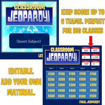 Jeopardy Template (2 rounds)  Keep score-up to 6 teams