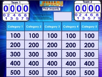 Jeopardy Template for the Smartboard