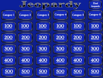 jeopardy template blank by nicholas reitz teachers pay teachers. Black Bedroom Furniture Sets. Home Design Ideas