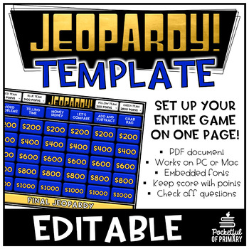 Jeopardy Template  Editable Pdf  Personal Use By Pocketful Of Primary