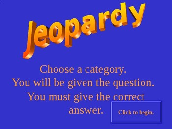 Jeopardy Template for 8th grade History