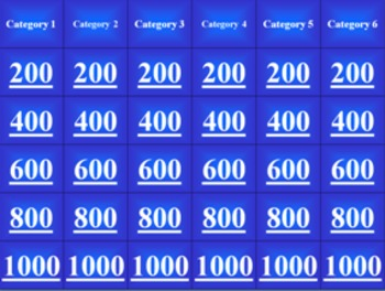 Jeopardy Template for all subjects (lite version)