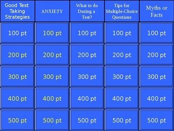 Jeopardy- Test Taking