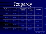 Jeopardy - Word Problems, Equations and Unknowns