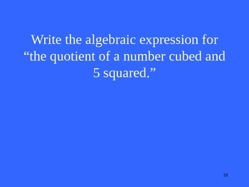 Jeopardy for Order of Ops., Expr., Properties, Ordered Pairs, & Tables/Graphs