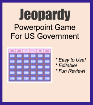 Jeopardy game / Fun Activity for Government Class. Powerpoint Slides, Civics