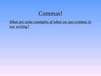 Jeopardy game and mini lesson: Commas