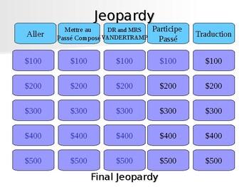 Jeopardy - passé composé using être
