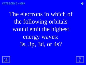Jeopardy review - waves, electron configurations, periodic table